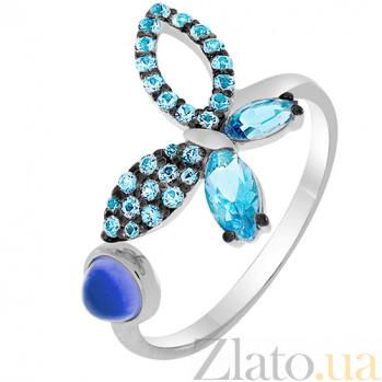 Кольцо в белом золоте Веселая бабочка с голубым топазом и фианитами 000032819