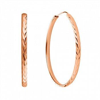 Серебряные серьги-кольца Кармен с позолотой и алмазной насечкой 000057241