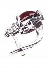 Серебряные серьги Круглая капля с гранатом и фианитами