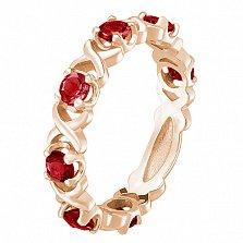 Кольцо в красном золоте Венеция с рубином