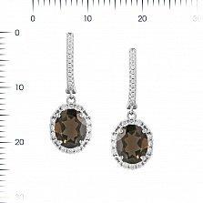 Серебряные серьги-подвески Оливия с раухтопазом и фианитами