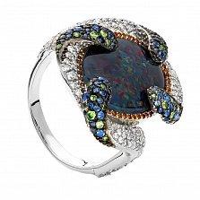 Серебряное кольцо с опалом, гранатами и цветными сапфирами Ocean