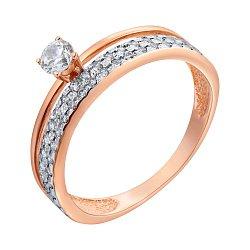 Золотое кольцо с фианитами и раздвоенной шинкой 000099175