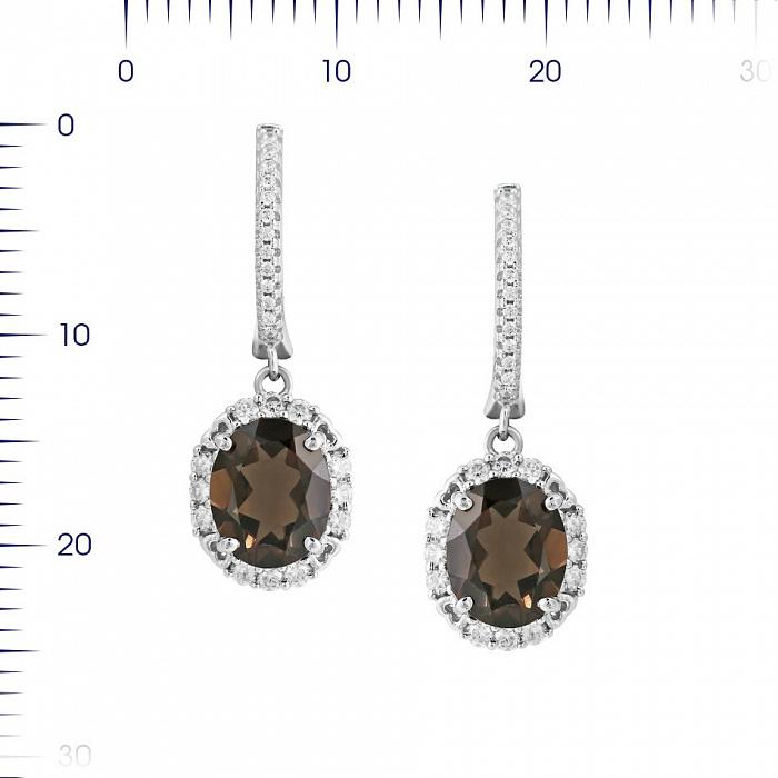 Серебряные серьги-подвески Оливия с раухтопазом и фианитами 000081959