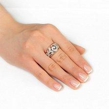 Золотое кольцо Ингеборга с фианитами