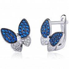 Серебряные серьги Милые бабочки с фианитами