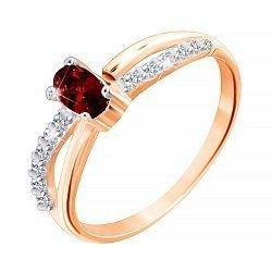Позолоченное серебряное кольцо с красным и белыми фианитами 000028199