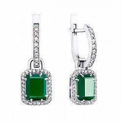 Серебряные серьги-подвески с зелеными агатами и фианитами 000133705