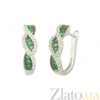 Золотые серьги с изумрудами и бриллиантами Элиза 1С309-0151