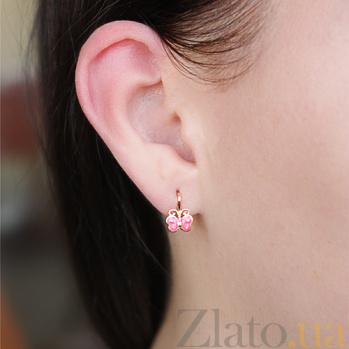 Золотые детские серьги Бабочки с розовой эмалью TNG--400212Е