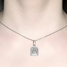 Ладанка из серебра с фианитами Николай Чудотворец