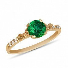 Золотое кольцо Леди Годива с изумрудом и дорожками фианитов