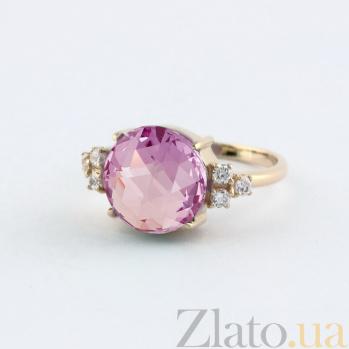 Золотое кольцо с аметистом и фианитами Дэриа VLN--112-1524-4