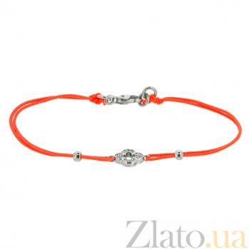 Шелковый браслет Энергия с серебряными вставками с цирконием ZMX--BCCz-00199-Ag_K