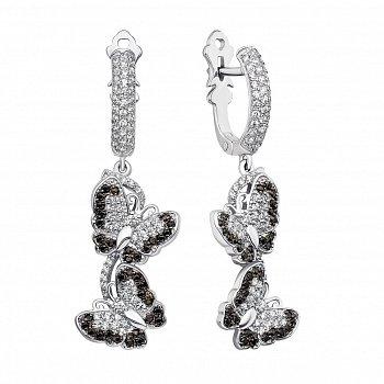 Серебряные серьги-подвески с черными и белыми фианитами 000133732