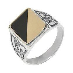 Серебряное кольцо с золотой вставкой и ониксом Гетьман 000015991