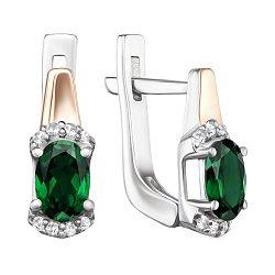 Серебряные серьги с золотыми накладками, зеленым кварцем и фианитами 000138426