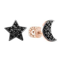 Золотые серьги-пуссеты Луна и Звезда с черными фианитами 000095148
