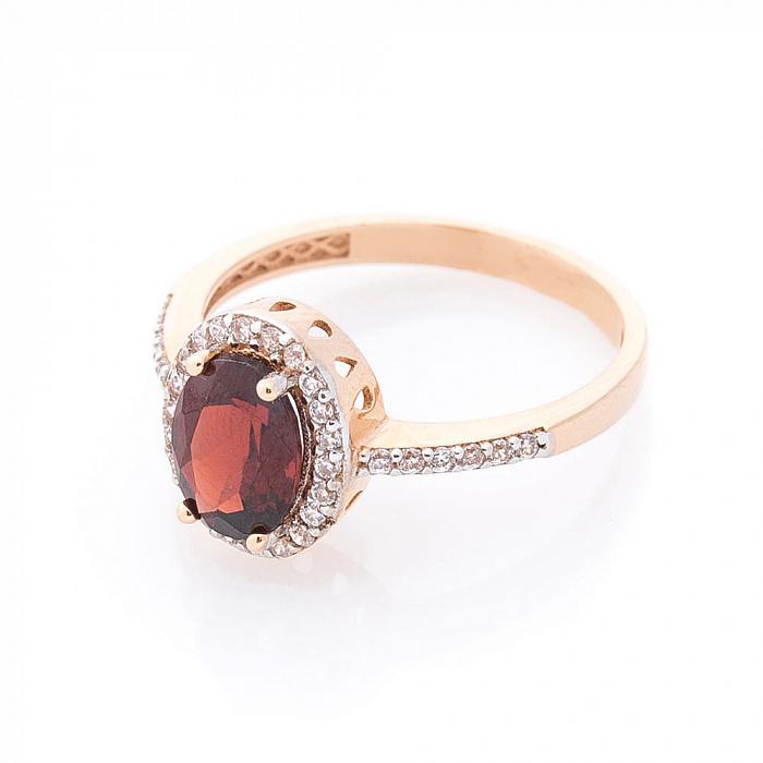 Золотое кольцо Федерика с гранатом и дорожкой из белых фианитов 000082339
