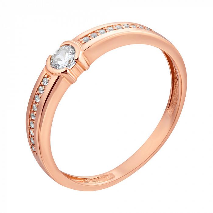 Кольцо из красного золота Рамона с цирконием 000079564