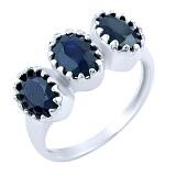 Серебряное кольцо Нитья с сапфирами