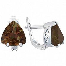 Серебряные серьги Верди с коньячным раухтопазом