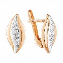 Золотые серьги Двухцветные листочки с алмазной насечкой
