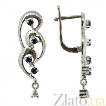Серебряные серьги с бриллиантами и сапфирами Лорен ZMX--EDS-6185-Ag_K