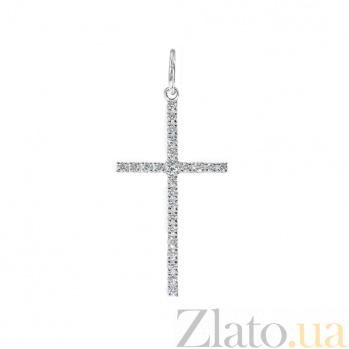 Золотой крестик Диана в белом цвете с бриллиантами VLA--33489