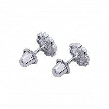 Серебряные серьги-пуссеты Ромашка с эмалью,8х8 мм
