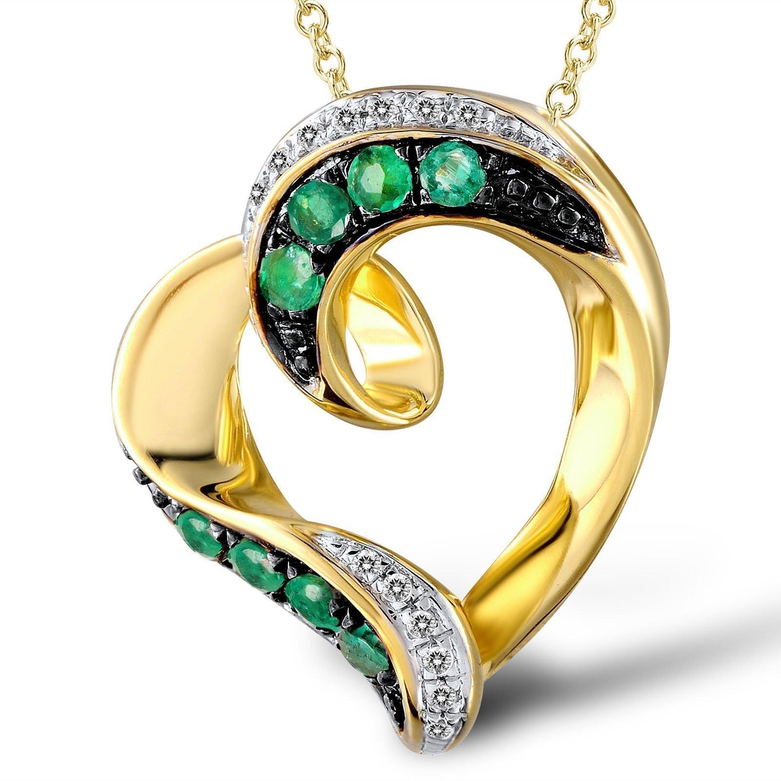 Кулон из золота Пьянящая любовь с изумрудами и бриллиантами