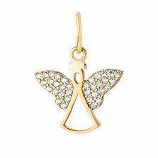 Золотой подвес Нежный ангел с усыпкой фианитов