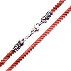 Шелковый красный шнурок Спаси и Сохрани с серебряной застежкой, 3мм 000042699