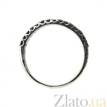 Золотое кольцо в белом цвете с чёрными бриллианиами Кальяни 000021386