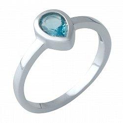 Серебряное кольцо с синтезированным аквамарином и родированием 000128866