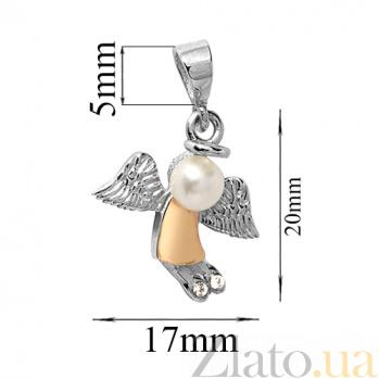 Серебряный кулон Ангелочек с жемчугом, фианитами и золотой накладкой BGS--365п