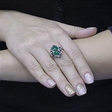 Серебряное черненое кольцо Мартина с искусственным хризопразом