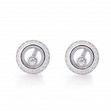 Серебряные серьги-пуссеты Гала с ювелирным стеклом и фианитами