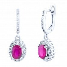 Серебряные серьги-подвески Барби с рубином и фианитами