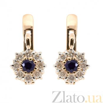 Золотые серьги с бриллиантами и сапфирами Юна ZMX--ES-6668\1_K