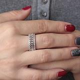 Серебряное кольцо Плетение с фианитами