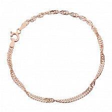 Серебряный браслет Фламенко с позолотой, 2 мм