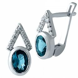 Серебряные серьги Поликсена с топазом лондон и фианитами 000075553