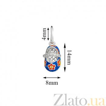 Серебряная подвеска с эмалью Туфелька 000022701