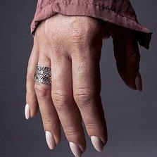 Кольцо из серебра Mme Moustache с золотой накладкой и чернением