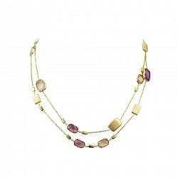 Колье из желтого золота Дианта с аметистом и розовым кварцем 000081364