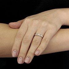 Обручальное кольцо из белого золота с бриллиантом Нежность