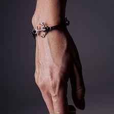 Кожаный браслет с серебром Anchor Black с чернением