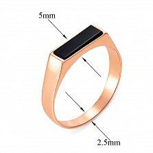 Перстень-печатка в красном золоте Копенгаген с черным ониксом