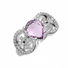 Серебряное кольцо Эмили с аметистом и фианитами